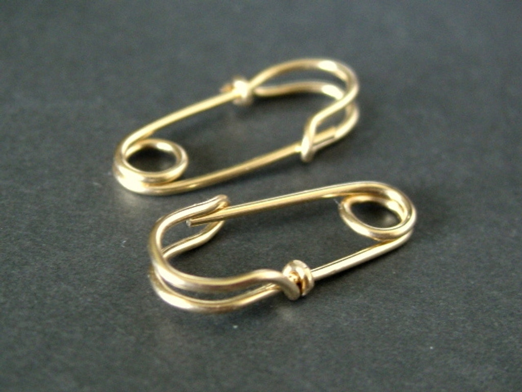 MINI SAFETY PIN earrings 14k gold filled