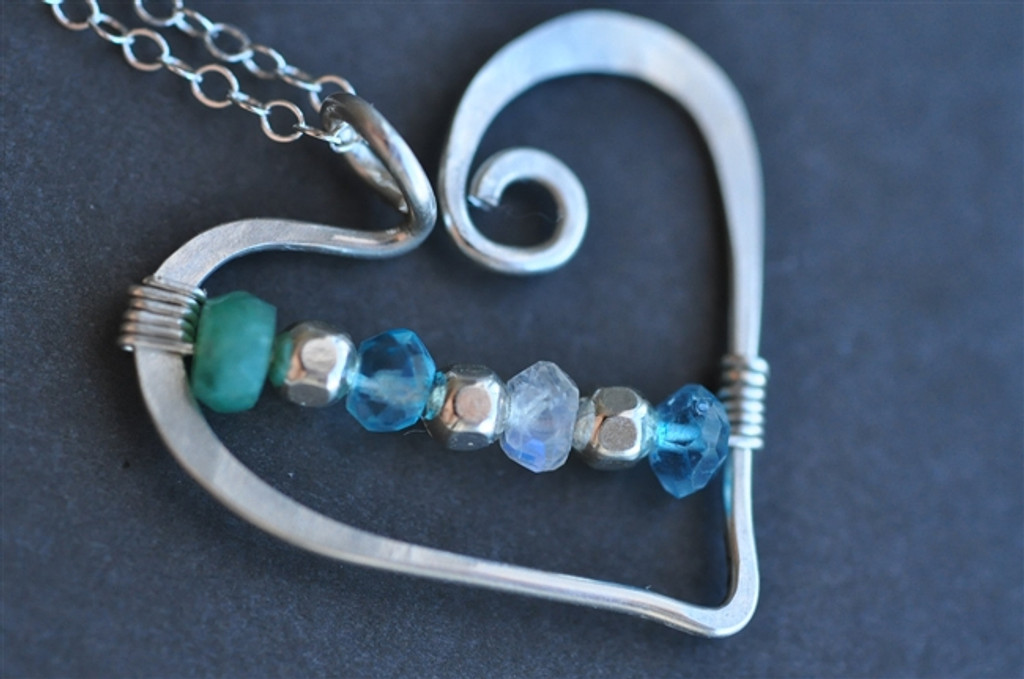 OPEN HEART custom grandmother's / mother's birthstone necklace (7 stones)