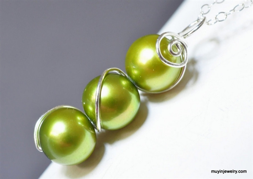 simple bridesmaid freshwater pearl necklace custom color - muyinjewelry.com