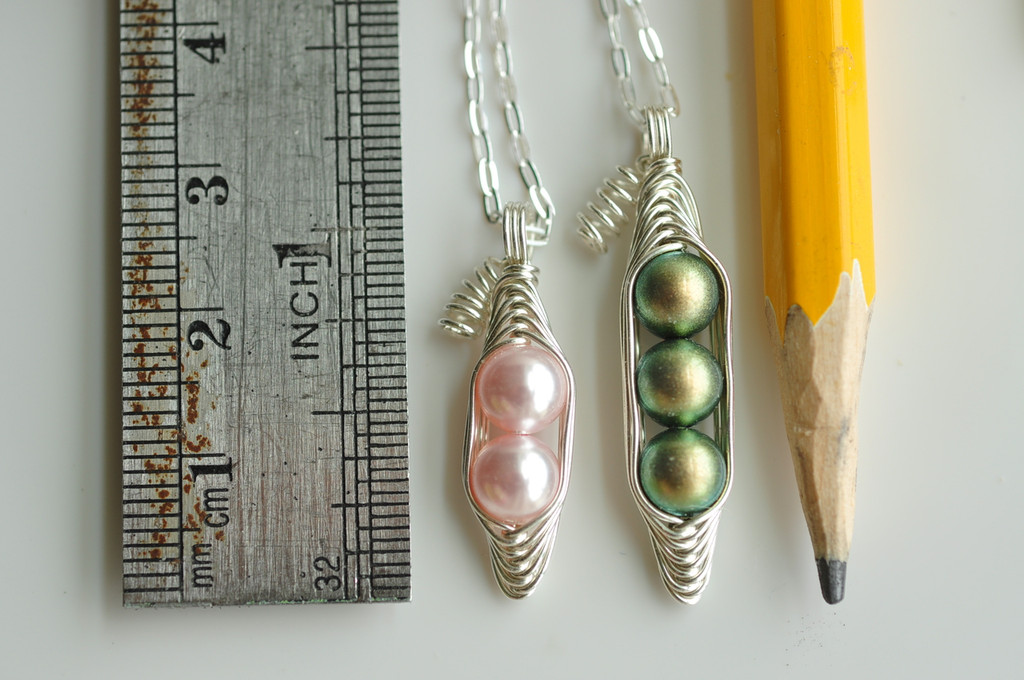 PEAPOD necklace with initial leaf charms - green or white freshwater pearls, sterling silver