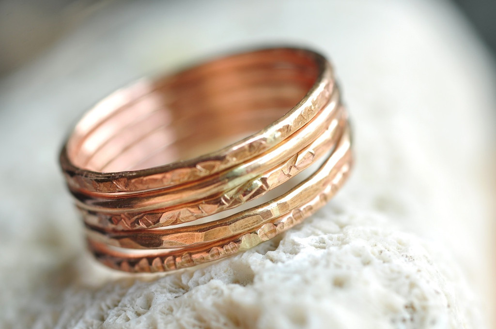 ONE(1) textured skinny 14k rose gold filled ring - stacking ring - pick your texture