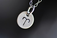 custom zodiac sign hand stamped necklace in sterling silver