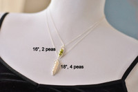Solid 14k Gold Peapod Necklace (white or green freshwater pearls)