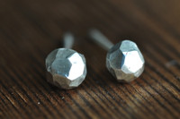 faceted ball sterling silver post earrings
