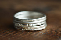 modern skinny sterling silver stacking ring textured
