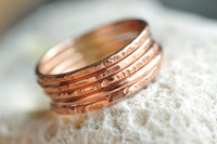 skinny textured 14k rose gold filled stacking rings