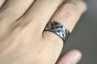 basket weave patter ring oxidized  | mu-yin jewelry