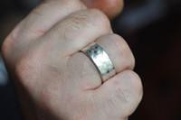 basket weave patter ring oxidized men's ring    mu-yin jewelry