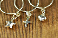 sterling silver dangle ring with heart, star and cross charm | muyinjewelry.com