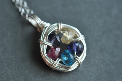 FAMILY NEST mother's / grandmother's birthstone necklace 5 stones genuine gemstones