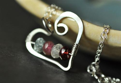 mothers grandmothers birthstone heart necklace genuine gemstones 4 four stone - muyinjewelry.com