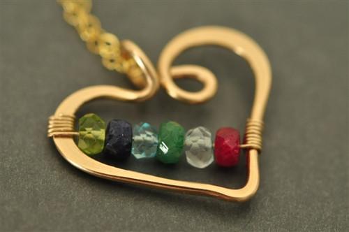 mothers grandmothers birthstone heart necklace genuine gemstones 6 stone - muyinjewelry.com