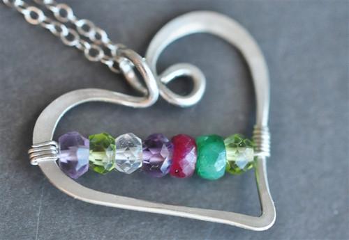 mothers birthstone heart necklace genuine gemstones 7 stones
