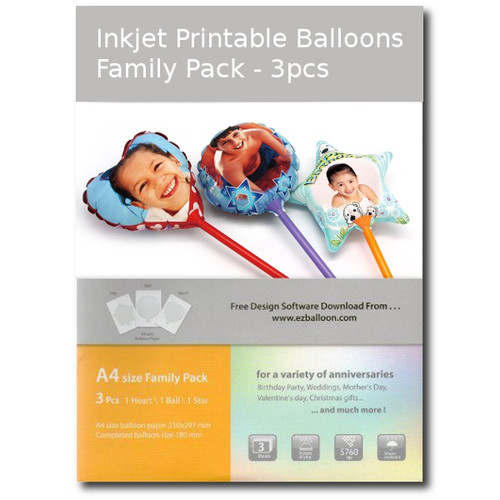 Inkjet Printable Balloons 3pcs (Family Pack)