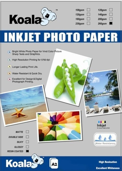 260gm A2 RC Glossy Photo (20 Sheets)