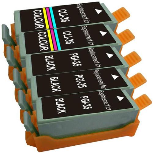PGI-35 / CLI-36 Compatible Inkjet Cartridge Set  5 Cartridges