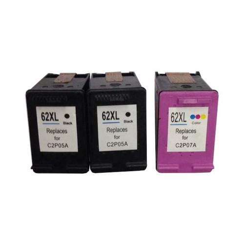 Remanufactured Value Pack (2 x HP62XL Black & 1 x HP62XL Colour)
