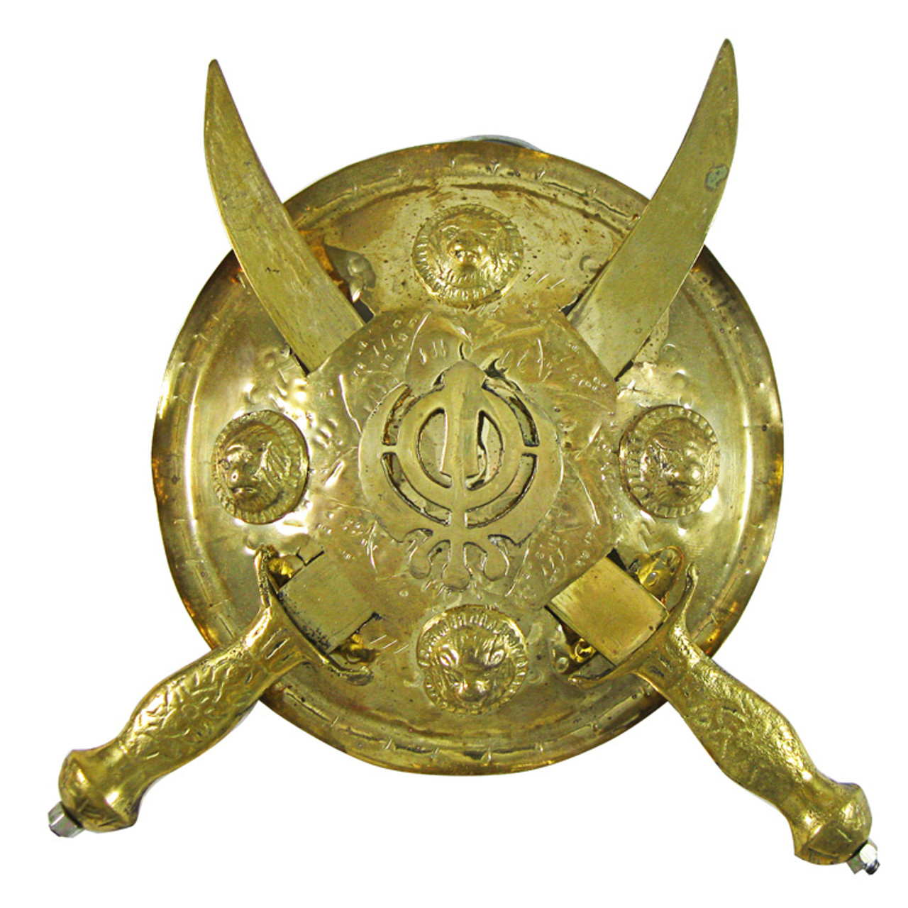 Small Kirpans with Khanda Gold Shield Wall Decoration - India Town Gifts