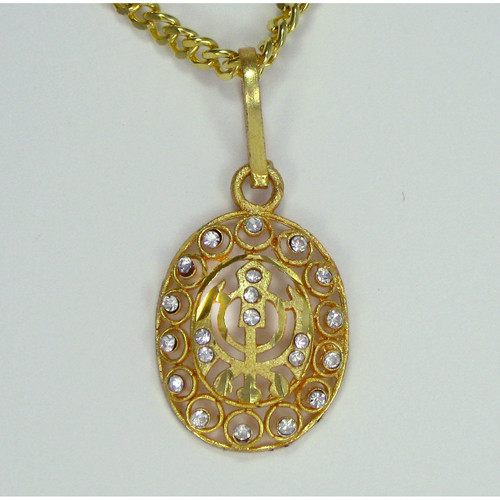 Gold color khanda pendant with crystals india town gifts gold color khanda pendant with crystals mozeypictures Images