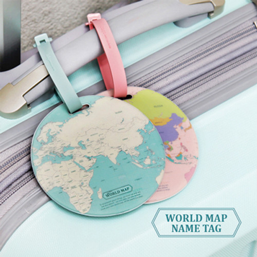 World Map Name Tag