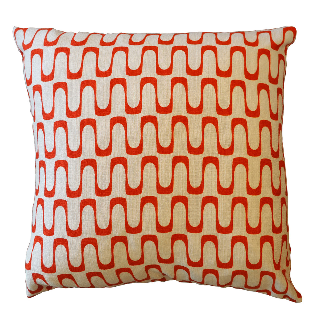 "Barkcloth Throw Pillow ""Wavelength"" Red"