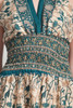 OOAK bohemian silk scarf dress sari halter tiered maxi deep plunging open back floor length flowy green cream floral paisley ONE SIZE S M L