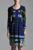 vintage 60 knit dress stained glass floral print blue black green long sleeves scoop neck SMALL MEDIUM S M