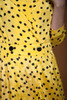 vintage 80s pleated wrap midi dress yellow black polka dot crinkled MEDIUM M