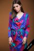 vintage 80s silk dress Flora Kung cowl neck batwing sleeves belted colorblock pink blue green LARGE L