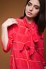 vintage 80s red silk dress bow tie neck ascot long sleeves flowy windowpane plaid MEDIUM LARGE M L