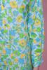 cotton shirt dress, blue yellow floral print long sleeves vintage 70s MEDIUM LARGE M L