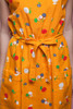 floral cotton pocket day dress bright orange sleeveless belted vintage 80s ONE SIZE S M L