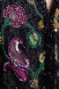 beaded evening jacket top sequined silk blouse black pink gold long sleeves vintage 80s MEDIUM M
