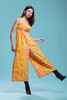 cotton jumpsuit keyhole tie front sleeveless empire waist vintage 70s SMALL MEDIUM S M