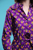 peter pan collar shirt dress duster belted cotton purple floral print long sleeve vintage 70s SMALL S