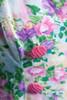 criss cross back mini dress rose print floral watercolor tiers pink green cotton vintage 80s MEDIUM LARGE M L
