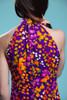 floral maxi dress high collar sleeveless open shoulder purple orange cotton vintage 70s MEDIUM M