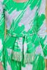 drop waist dress fringed belt green white long sleeves knee length vintage 70s MEDIUM M
