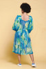 balloon sleeves party dress watercolor floral print blue green chiffon sheer vintage 70s LARGE L