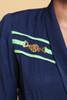 jumpsuit pantsuit petites nautical navy blue green stripes gold emblem vintage 80s SMALL S