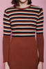 sweater mini dress preppy brown stripes long sleeves vintage 60s SMALL S