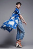 spring coat dress pleated duster blue floral puff doll sleeves vintage 80s MEDIUM LARGE M L