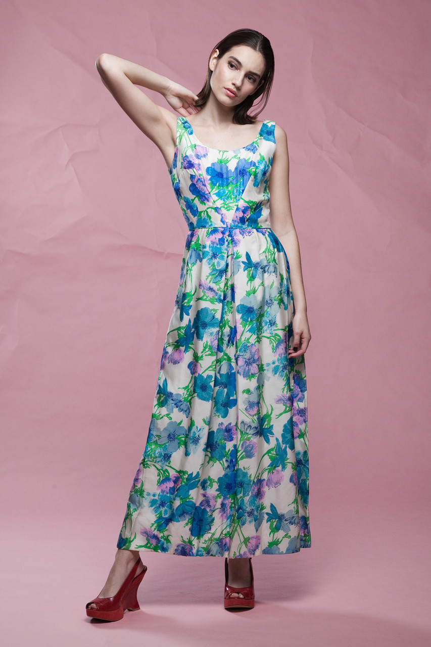 floral evening dress watercolor print silk maxi wedding guest ...