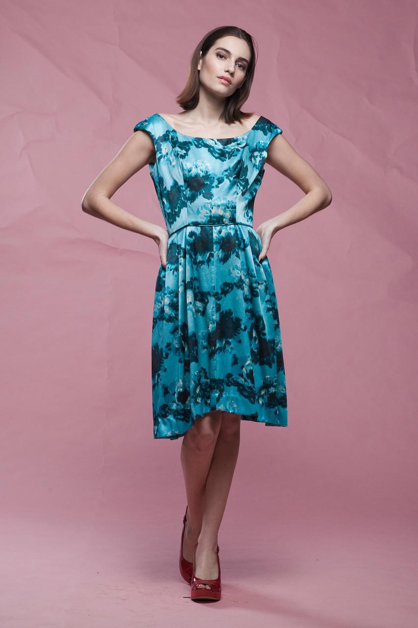 evening dress blue, 50s party dress, off the shoulder sleeveless ...