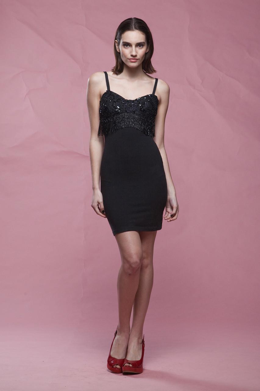 bodycon dress, black mini dress, beaded sequined tassel fringes ...