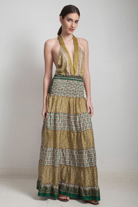OOAK boho silk sari halter tiered maxi dress deep plunging open back floor length flowy muted green floral ONE SIZE S M L