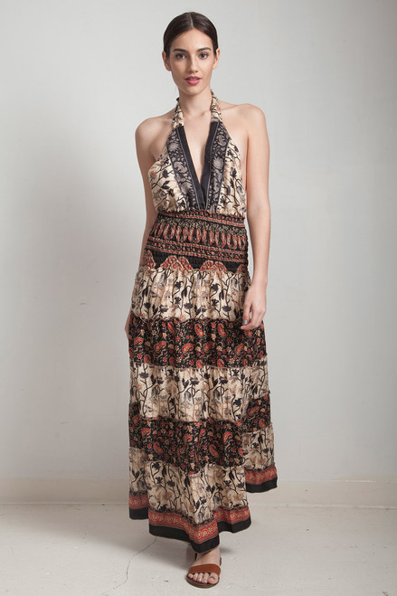 OOAK silk scarf dress bohemian sari halter tiered maxi deep plunging open back floor length flowy black cream floral paisley ONE SIZE S M L