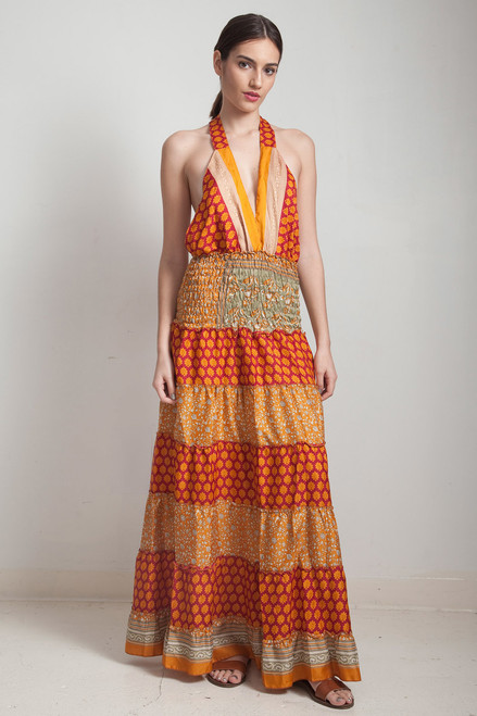OOAK boho tiered maxi dress bohemian silk sari halter deep plunging open back floor length flowy orange floral ONE SIZE S M L