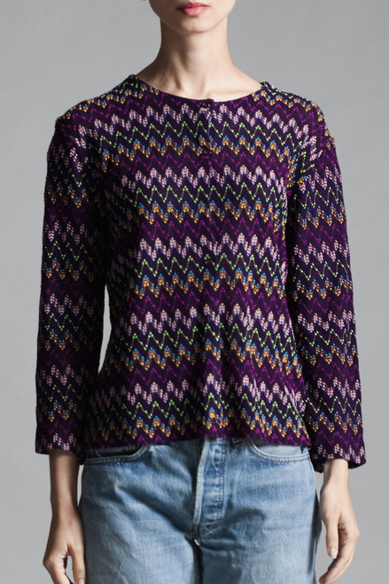 ... vintage 70s purple knit top textured zigzag cardigan sweater long  sleeves MEDIUM M ...