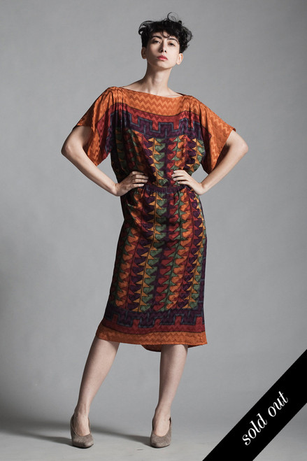 vintage 80s kimono silk dress earth tone geometric print midi slinky soft LARGE L